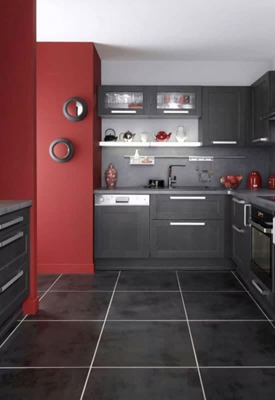 cuisine noire et rouge