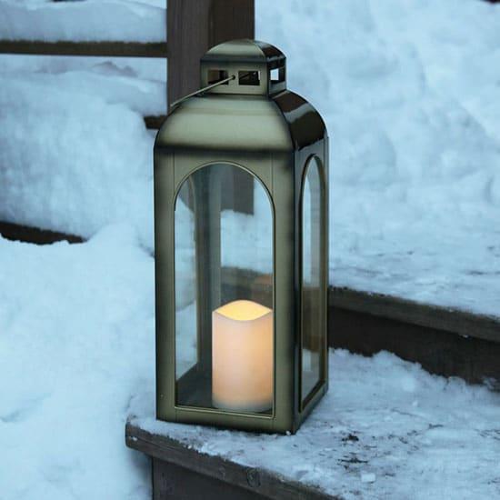 Lanterne de jardin avec fausse bougie