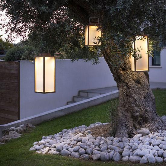 Lanterne de jardin bois et inox