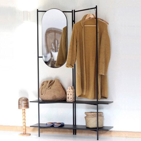 Vestiaire d'entrée en métal avec miroir