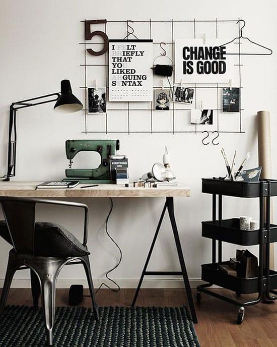 Bureau atelier en contraste blanc/noir