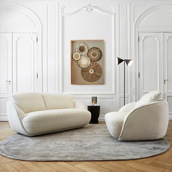 Canapé original en tissu bouclette