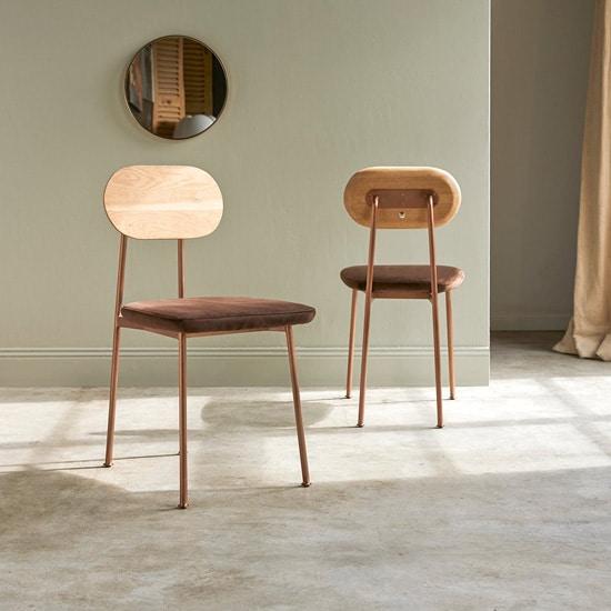 Chaise originale en cuivre brossé
