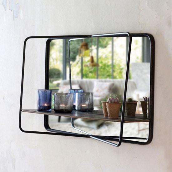Miroir industriel avec étagère