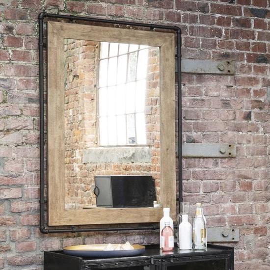 Miroir industriel bois et métal