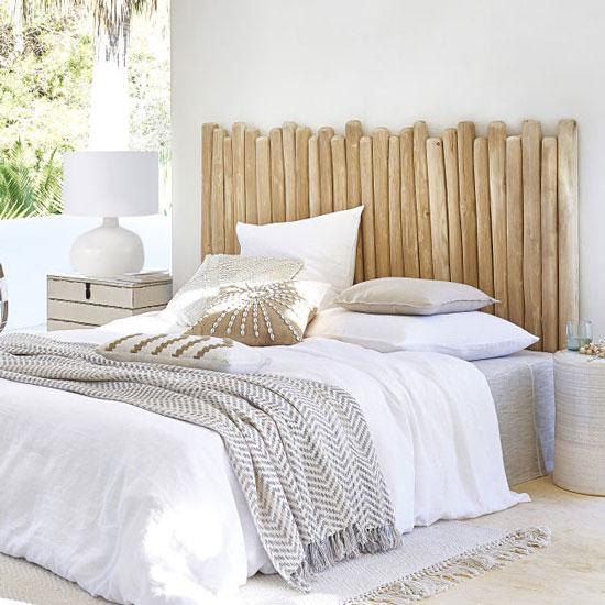 Idée tête de lit en rondins de bois