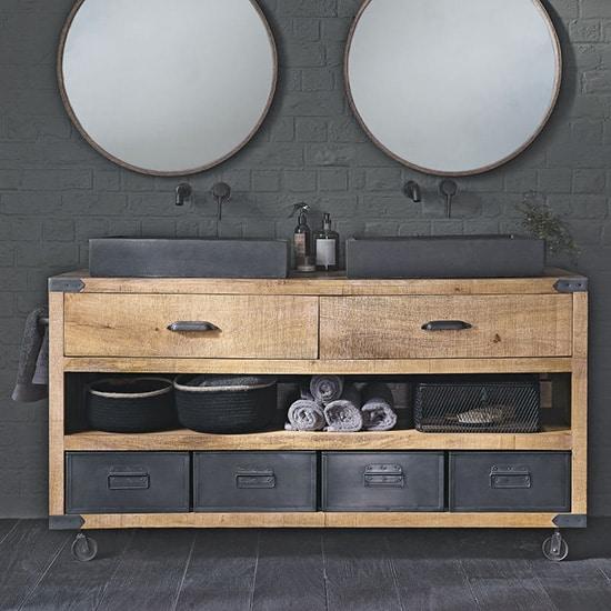 Meuble de salle de bain en bois massif et métal