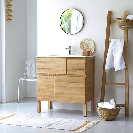 Meuble de salle de bain en bois massif et céramique
