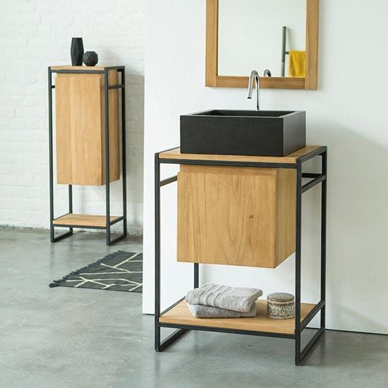 Meuble de salle de bain en bois massif moderne
