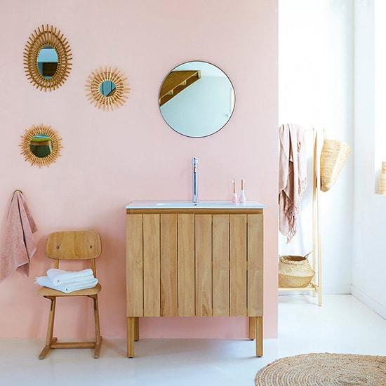 Meuble de salle de bain en bois massif de teck