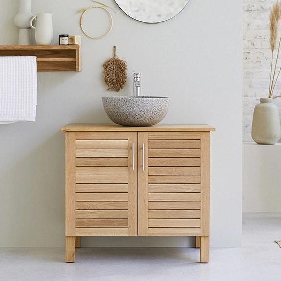 Meuble de salle de bain en bois massif de chêne