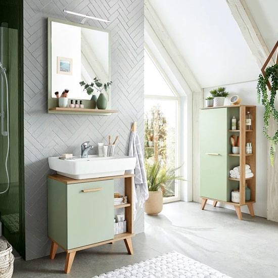 Miroir et meuble de salle de bain vintage
