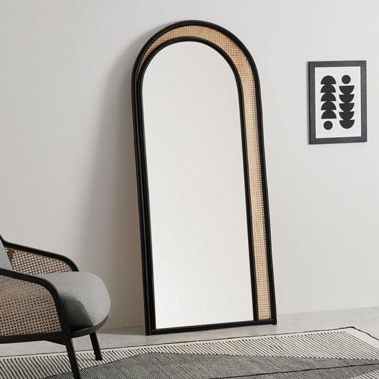 Miroir arche type psyché noir en rotin