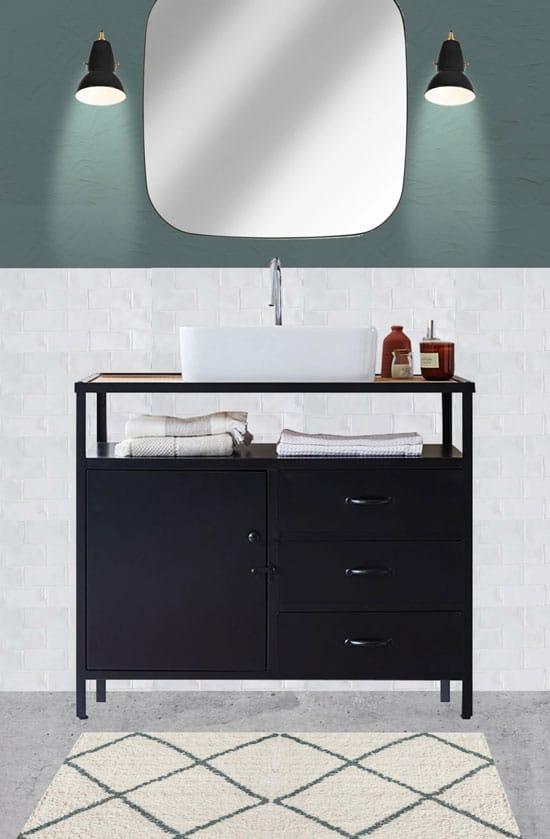 Ambiance loft sage autour de ce meuble vasque industriel