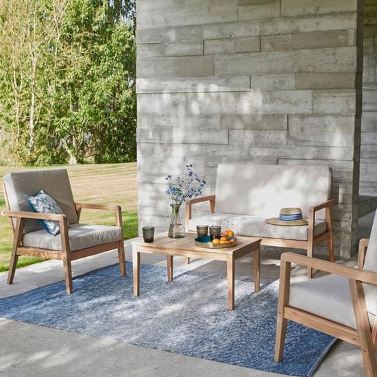 Salon de jardin extérieur en acacia